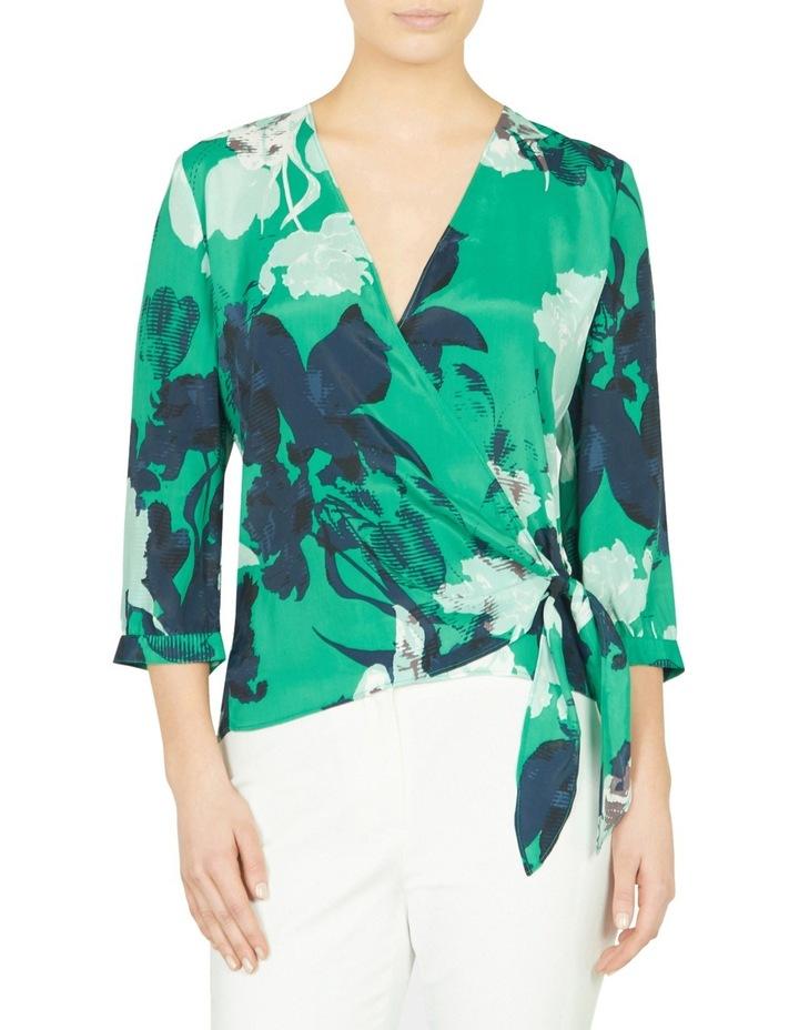 Mod Floral Print Wrap Blouse image 1
