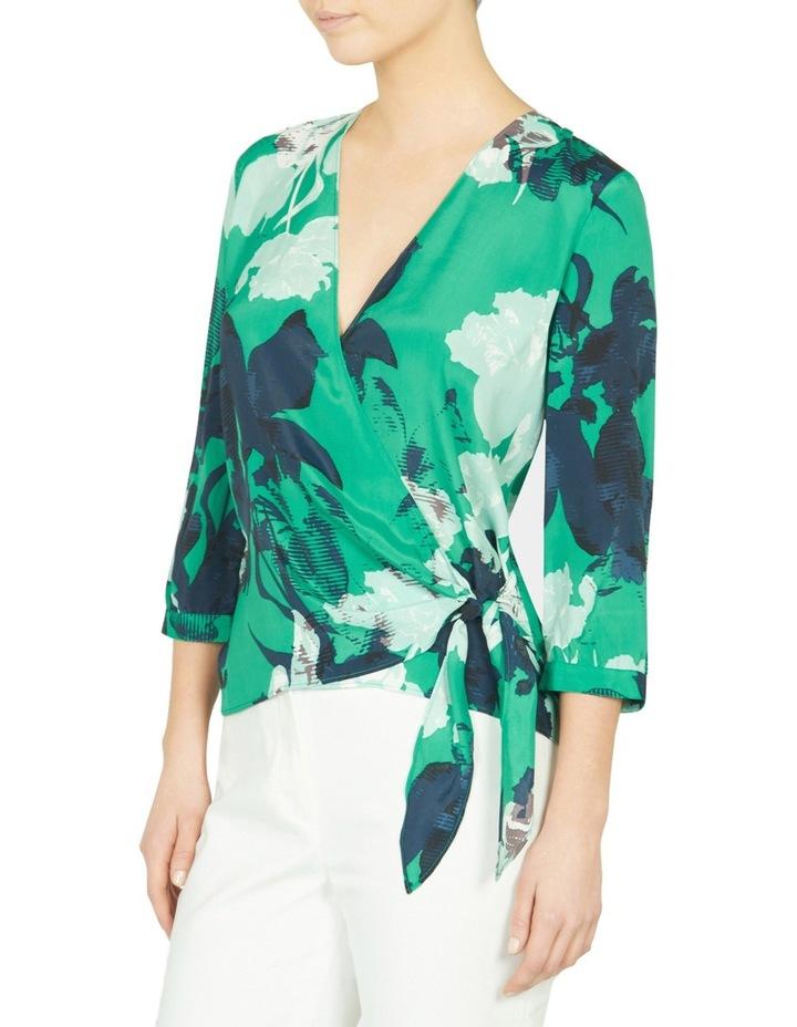Mod Floral Print Wrap Blouse image 2