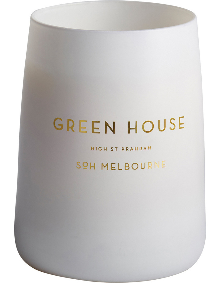 White Matte Green House Candle image 1