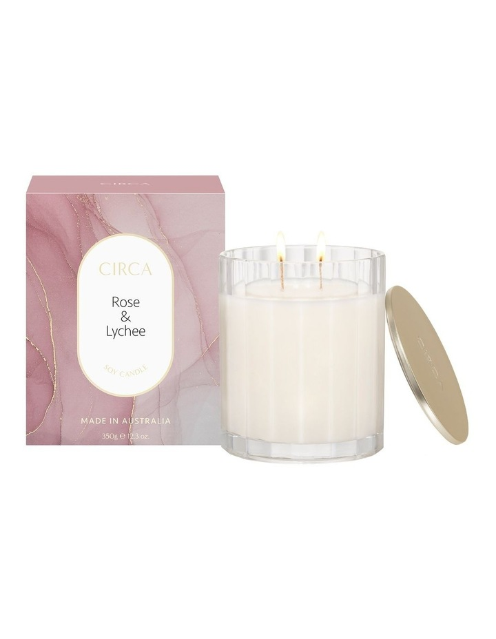 Rose & Lychee Scented Soy Candle 350g image 1