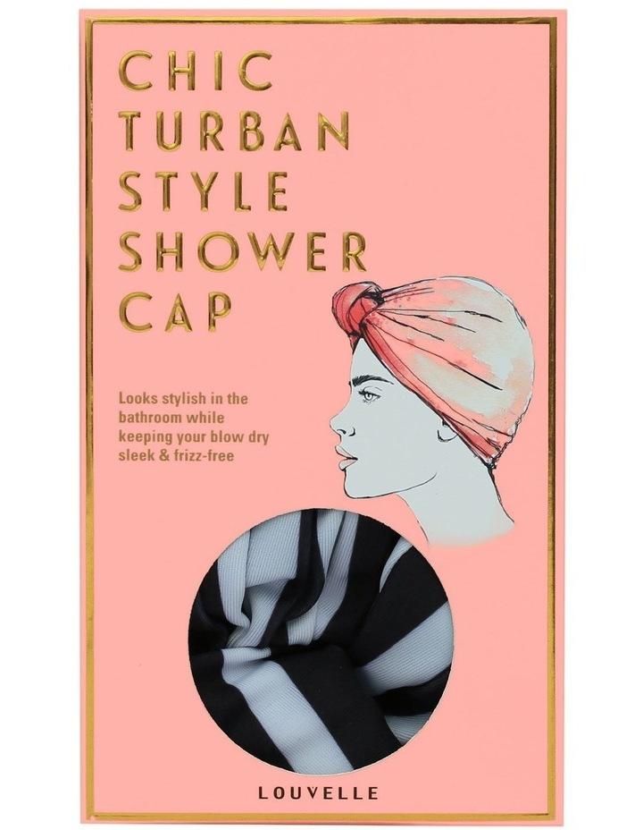 Louvelle Dahlia Shower Cap In Monochrome Stripe image 1
