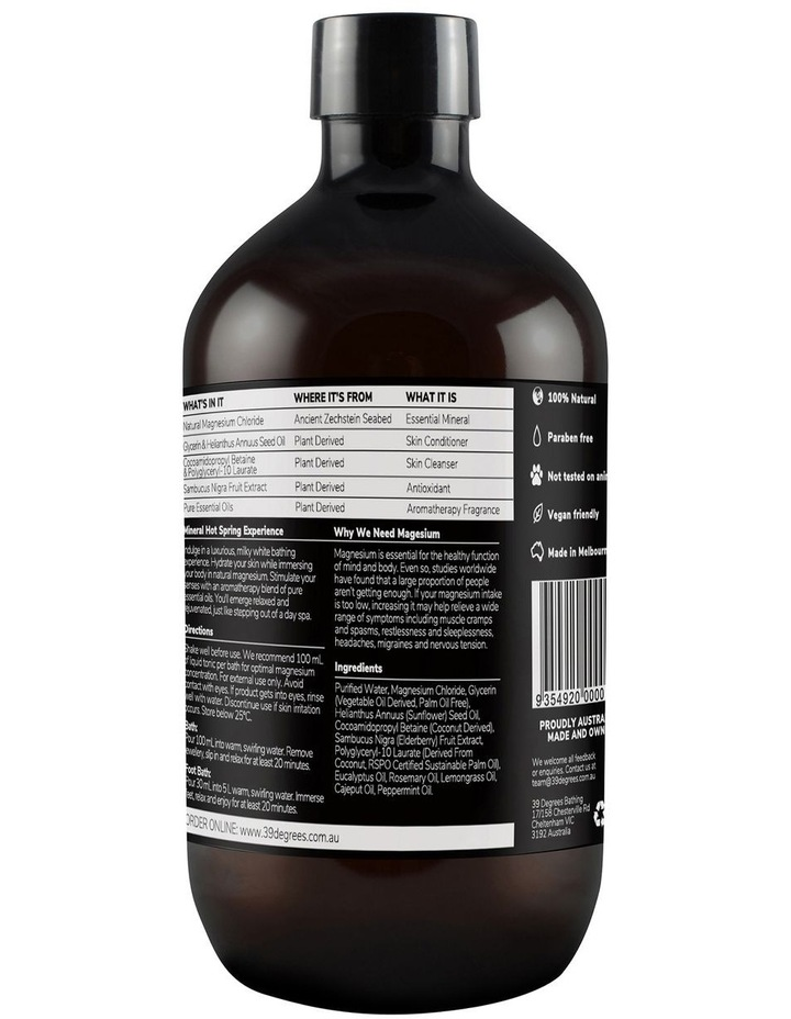 Natural Magnesium Mineral Bath Tonic Post-Workout 500ml image 2