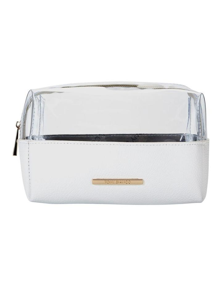 Top Zip Cosmetic Bag White image 1