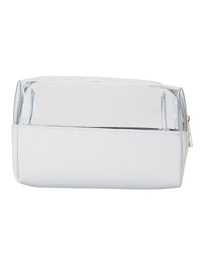 Top Zip Cosmetic Bag White image 2