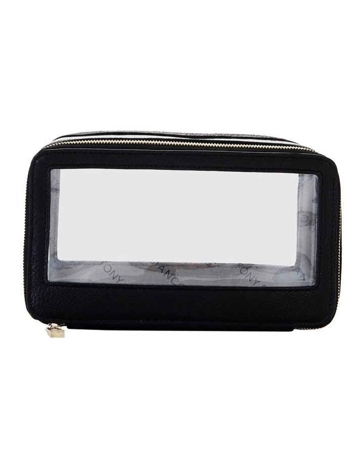 Double Zip Around Cosmetic Bag Black image 2
