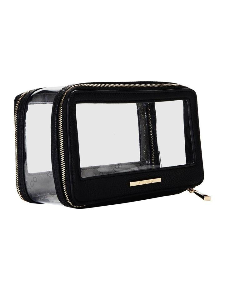 Double Zip Around Cosmetic Bag Black image 5