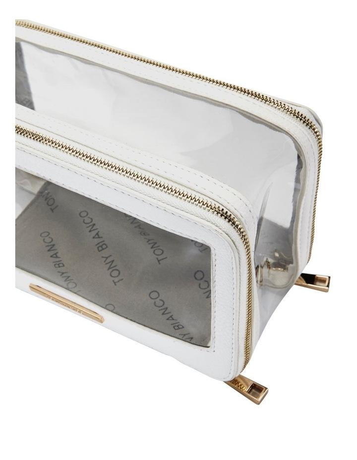 Double Zip Around Cosmetic Bag White image 4