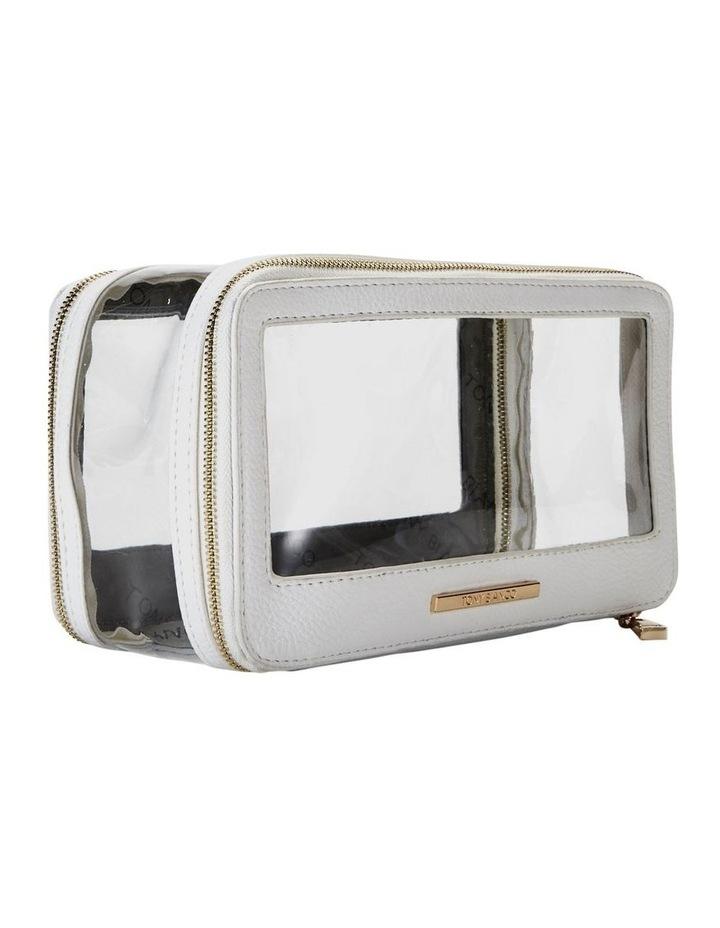 Double Zip Around Cosmetic Bag White image 5