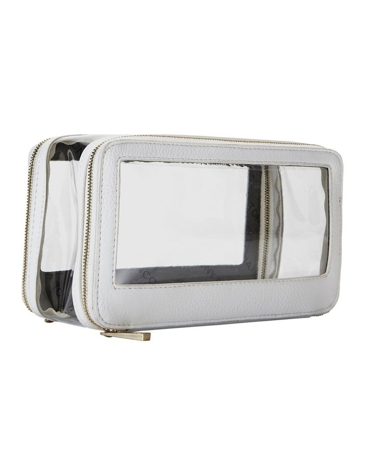 Double Zip Around Cosmetic Bag White image 6