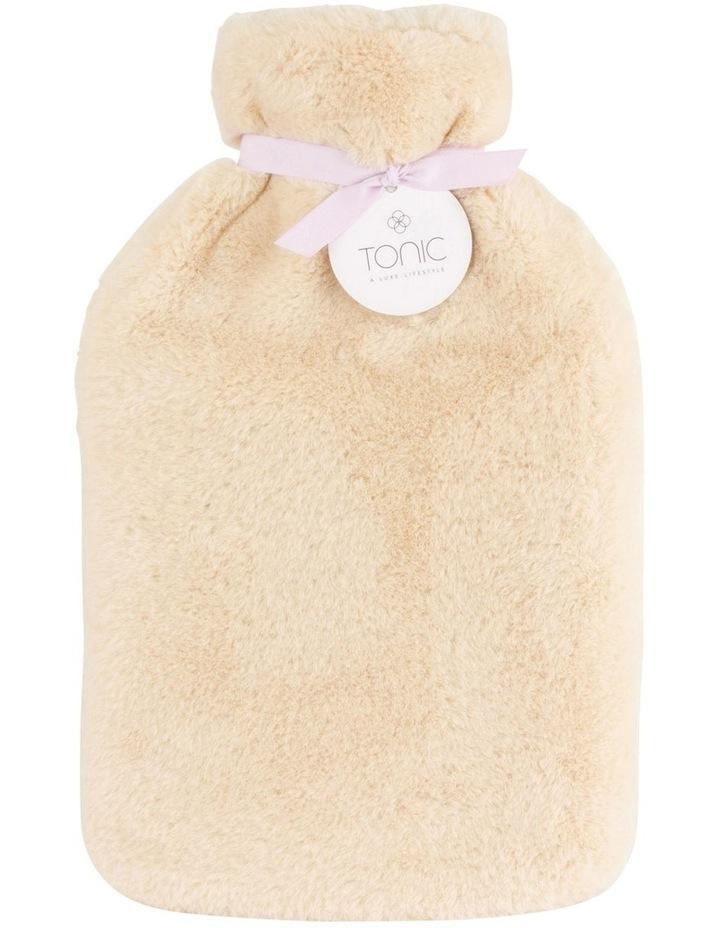 Deluxe Vegan Fur Hot Water Bottle in Caramel Cream image 1