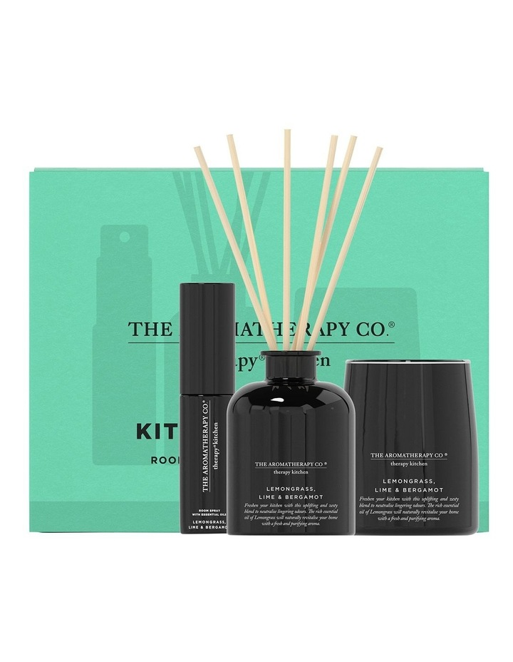 Therapy Kitchen Home Fragrance Set - Candle, Diffuser, Room Spray - Lemongrass Lime & Bergamot image 1