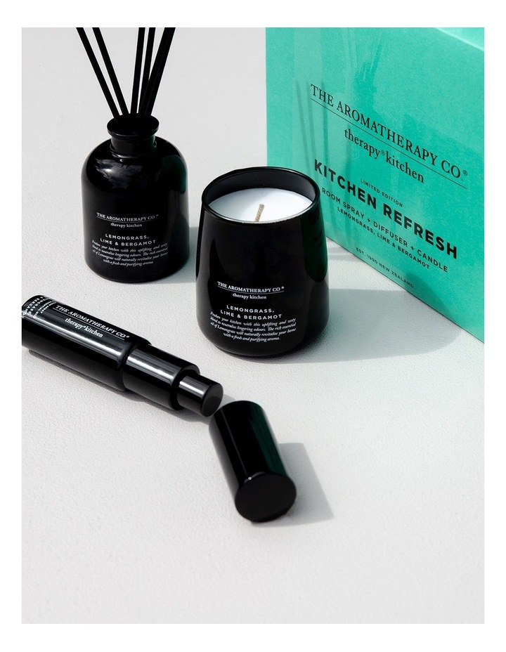 Therapy Kitchen Home Fragrance Set - Candle, Diffuser, Room Spray - Lemongrass Lime & Bergamot image 2