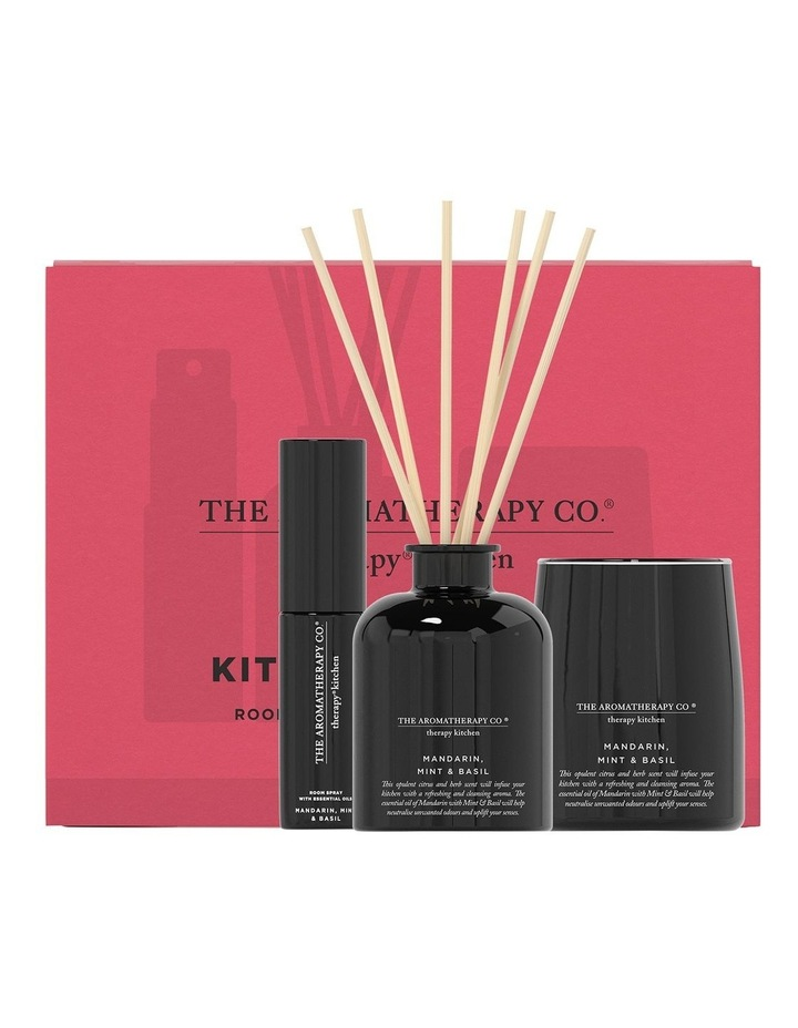 Therapy Kitchen Home Fragrance Set - Candle, Diffuser, Room Spray - Mandarin Mint & Basil image 1