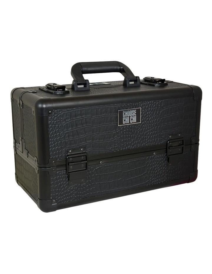 Large Beauty Case - Matte Black Croc image 1