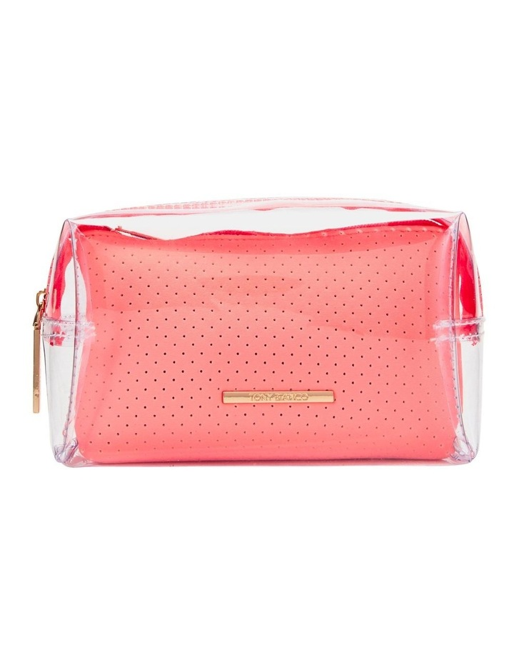 2 in 1 Clear/Neoprene Cosmetic Bag Coral image 1