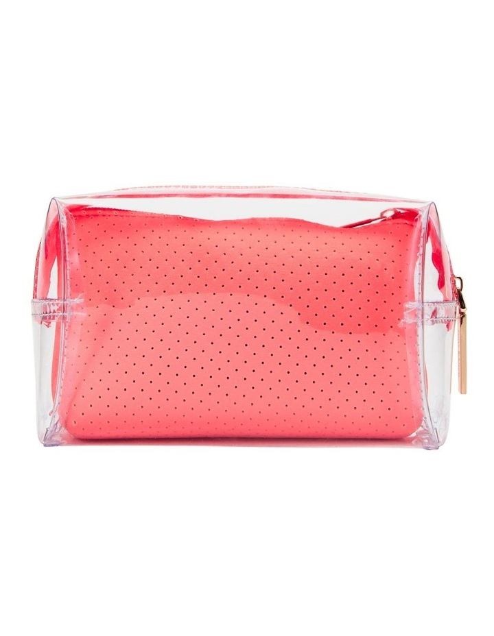 2 in 1 Clear/Neoprene Cosmetic Bag Coral image 2