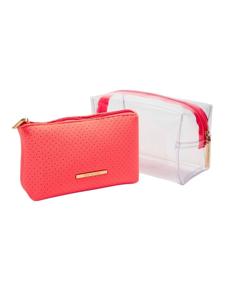 2 in 1 Clear/Neoprene Cosmetic Bag Coral image 5