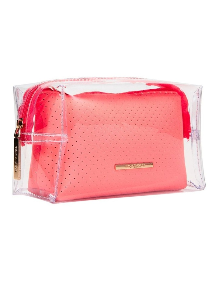 2 in 1 Clear/Neoprene Cosmetic Bag Coral image 6