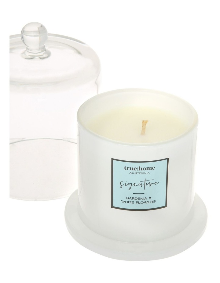 Signature Candle With Cloche Gardenia & White Flowers image 3