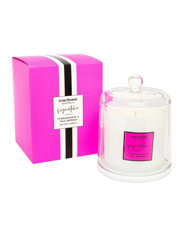 Signature Candle With Cloche Pomegranate & Wild Berries image 1