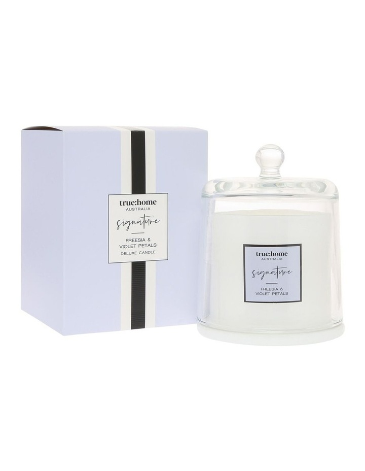 Signature Candle With Cloche Fresh Freesia & Violet image 1