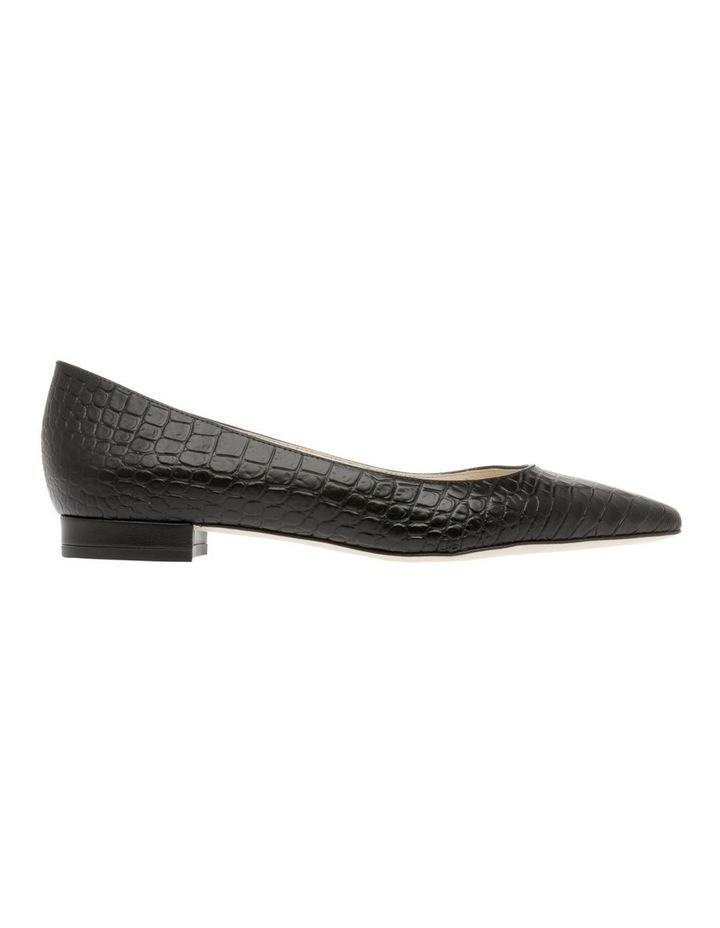 Barbara Black Croc Flat Shoe image 1