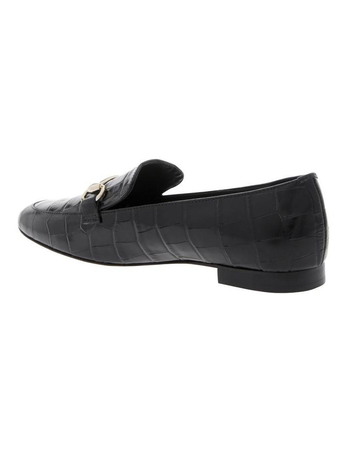Tabitha Black Croc Print Flat Shoe image 2