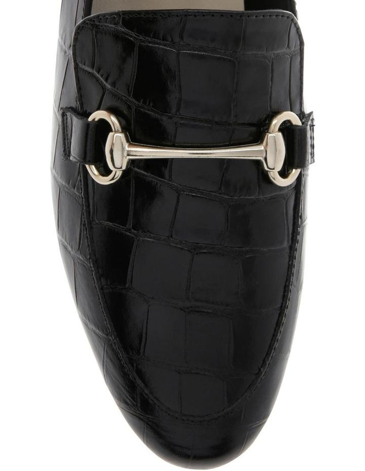 Tabitha Black Croc Print Flat Shoe image 3