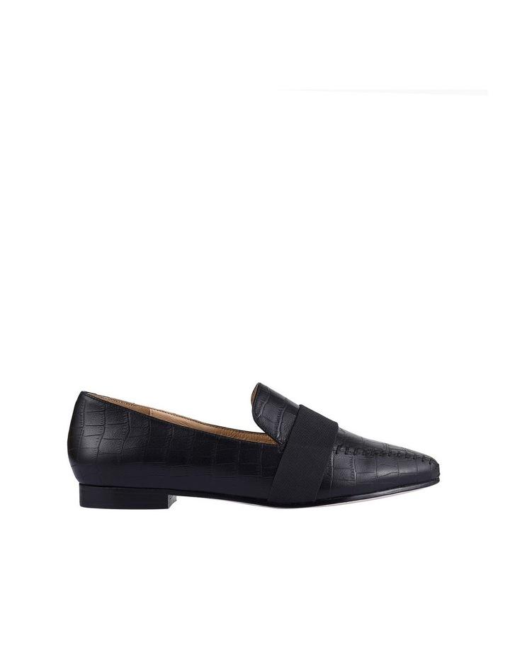 Theresa Black Croc Flat Shoes image 1