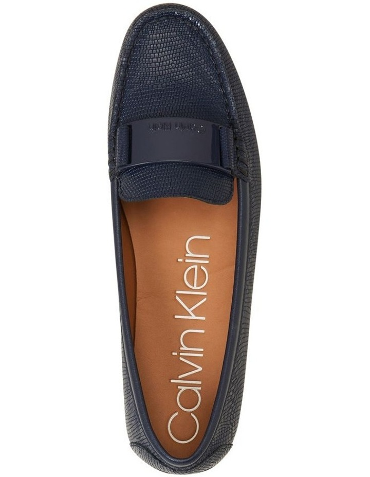 Lisette Navy Croc Flat Shoes image 3