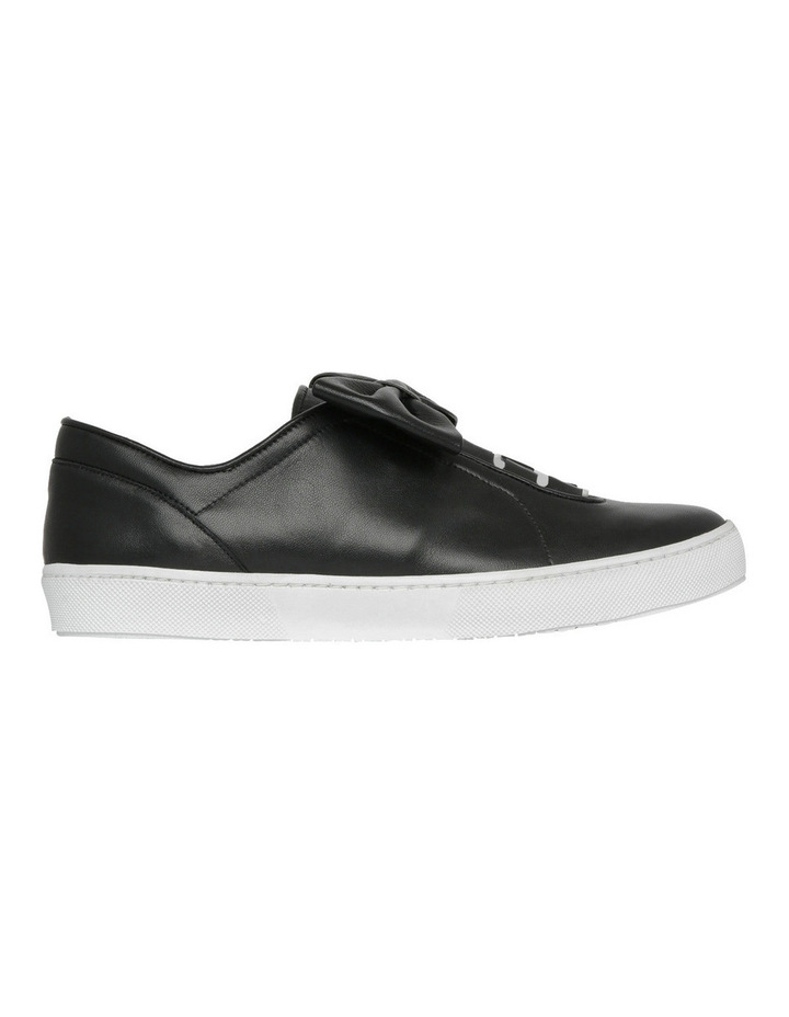 Black Flat Almond Toe Sneaker with Bow Detail image 1