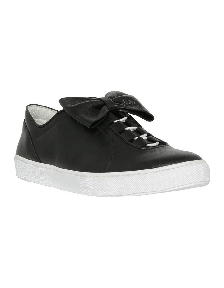 Black Flat Almond Toe Sneaker with Bow Detail image 2