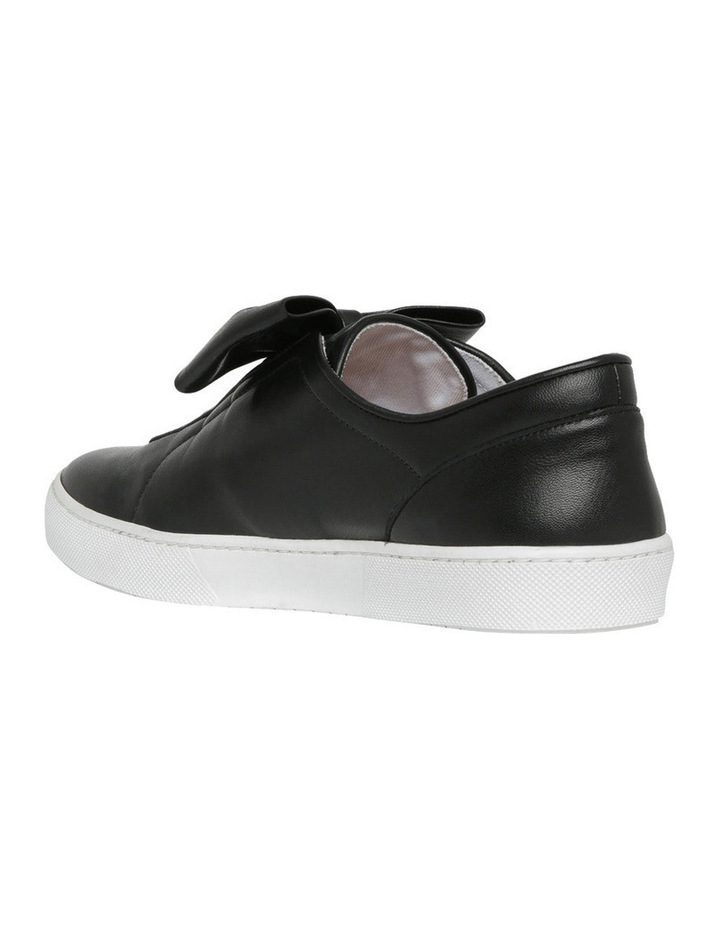 Black Flat Almond Toe Sneaker with Bow Detail image 3