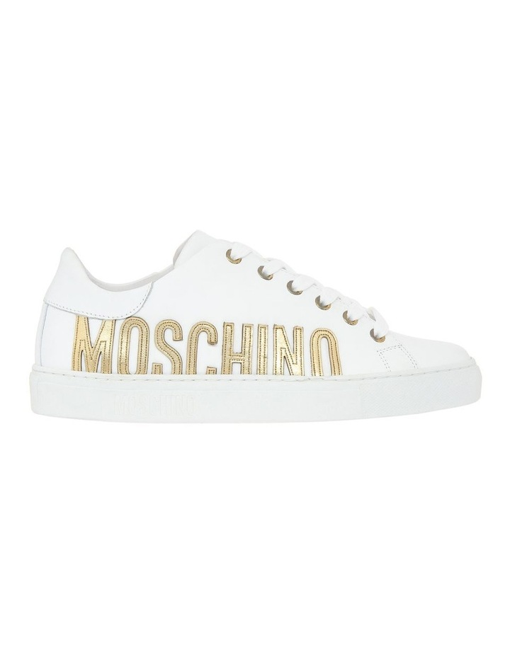 White Leather Sneaker with Gold Logo image 1