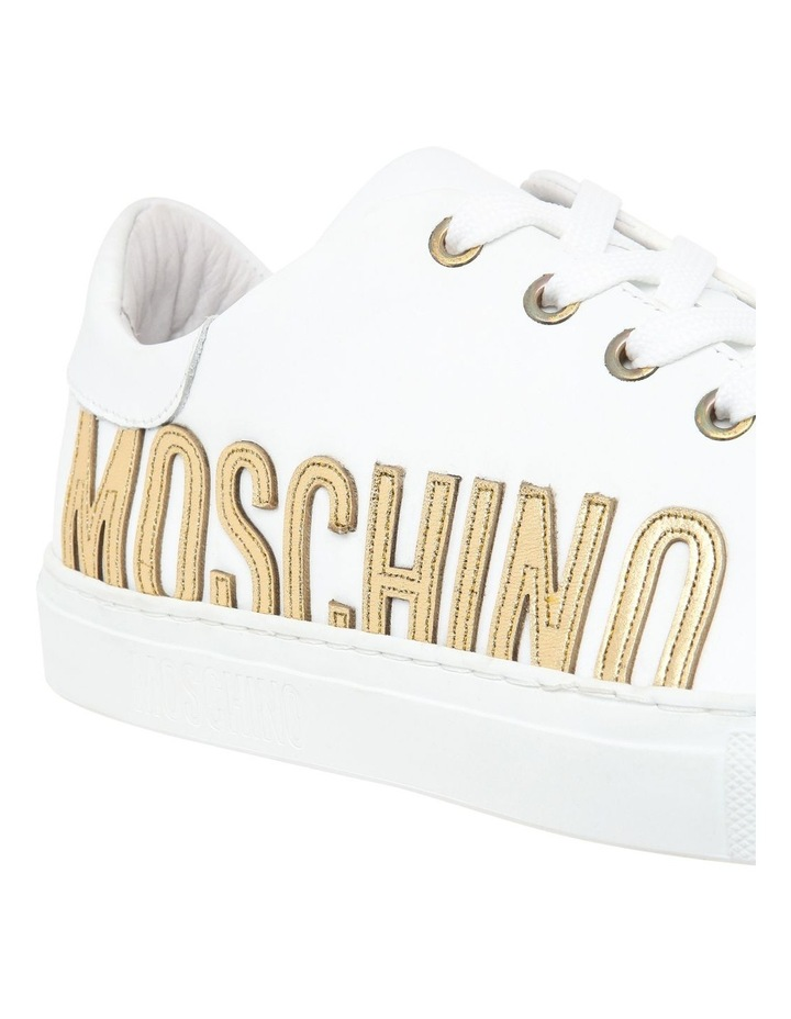 White Leather Sneaker with Gold Logo image 3