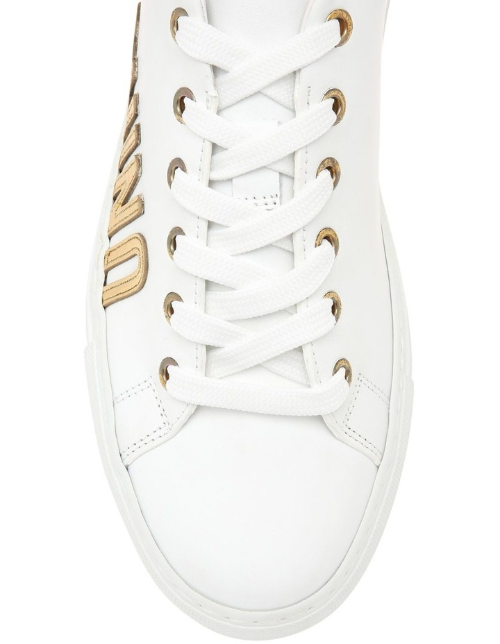White Leather Sneaker with Gold Logo image 4