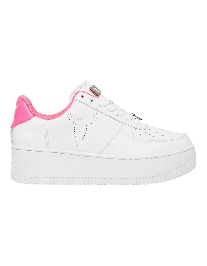 Rich White with Neon Pink Sneaker image 1