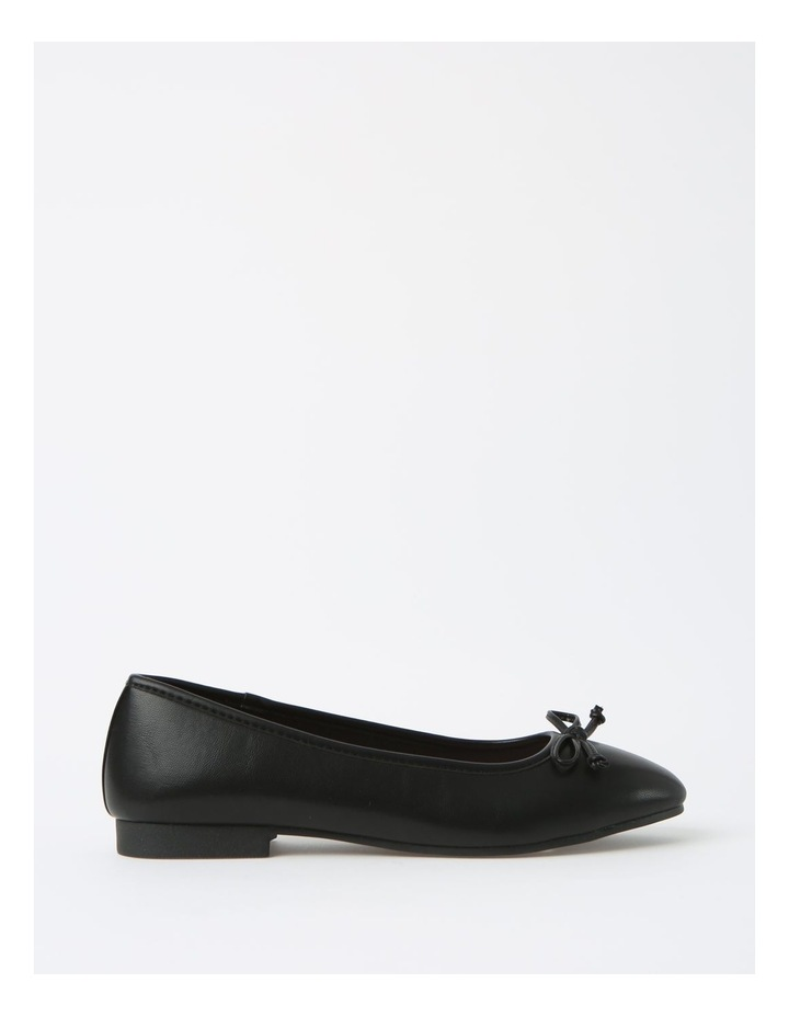 Robyn Black Leather Low Heeled Flats image 1