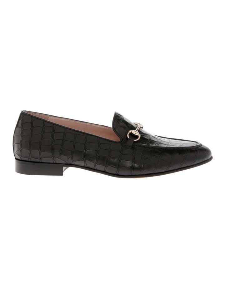 Harry Black Croc Print Leather Flat image 1