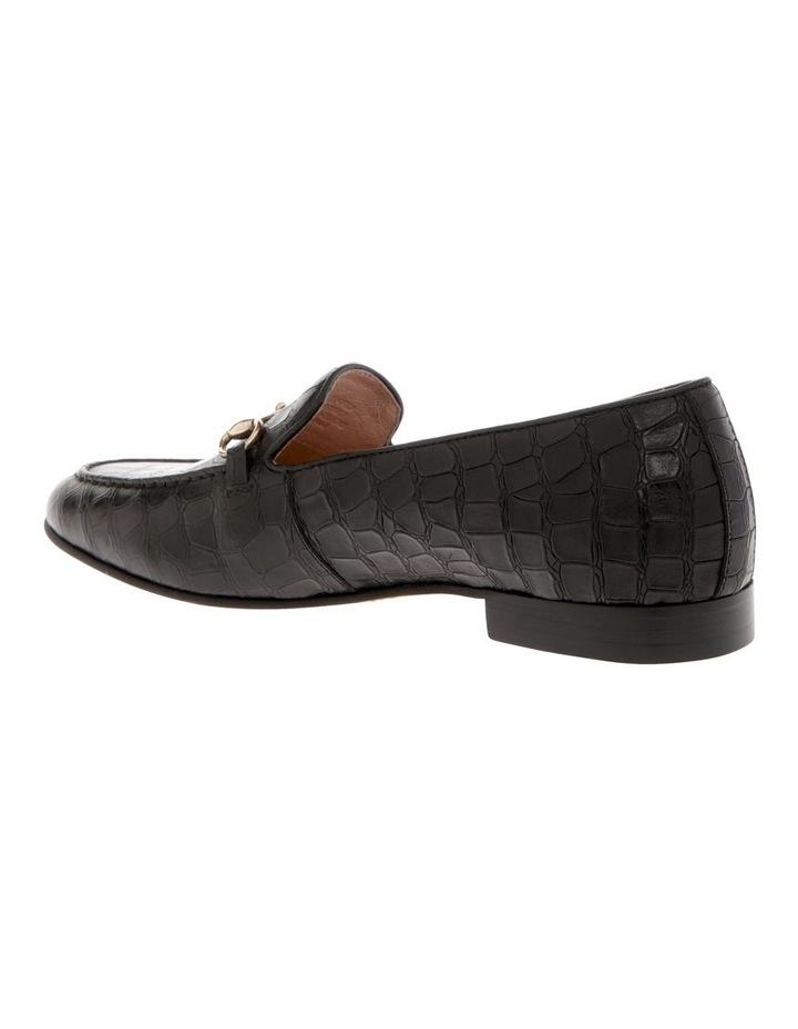 Harry Black Croc Print Leather Flat image 2