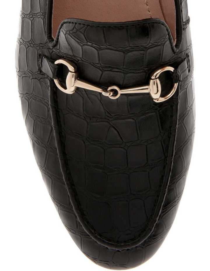 Harry Black Croc Print Leather Flat image 3