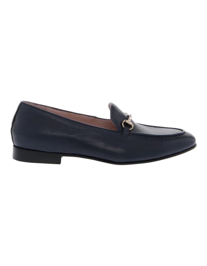 Harry Navy Leather Flat image 1