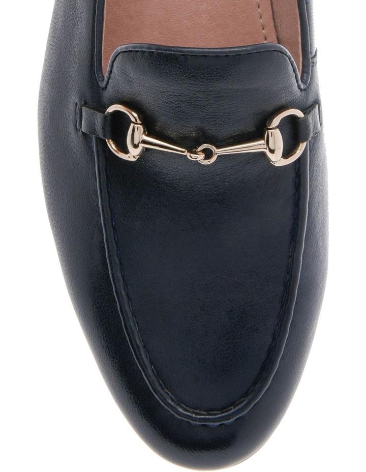 Harry Navy Leather Flat image 3