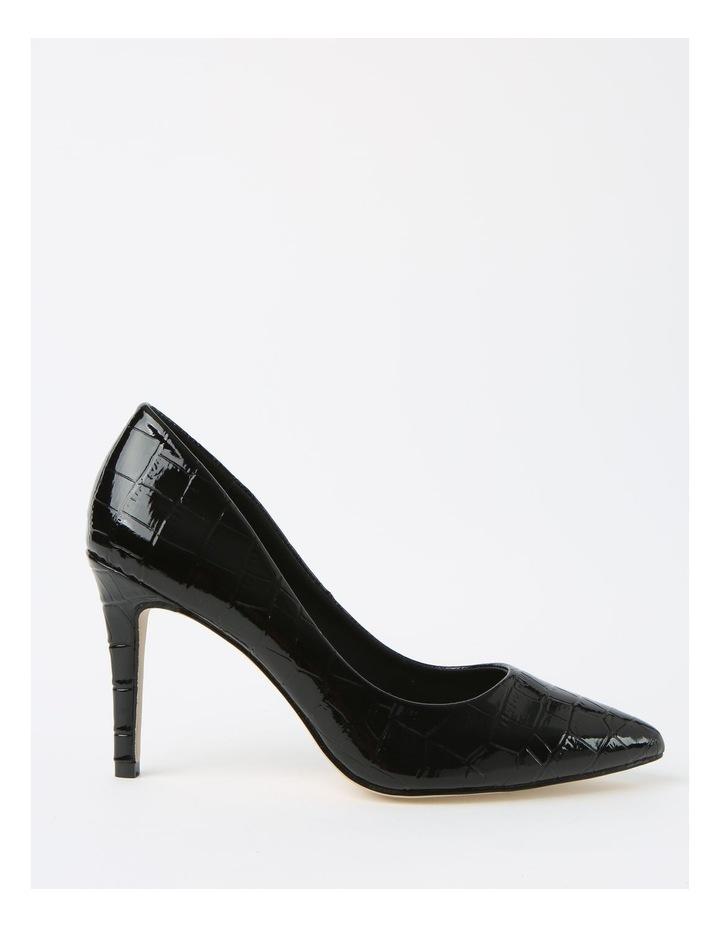 Bella Black Croc Heeled Shoes image 1