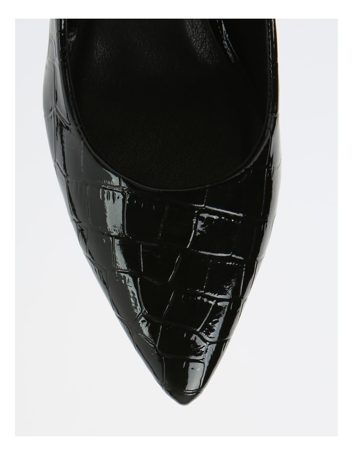 Bella Black Croc Heeled Shoes image 2