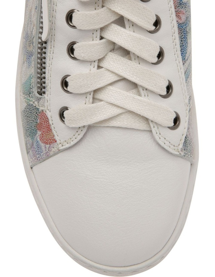 Zia White Floral Leather Sneaker image 3