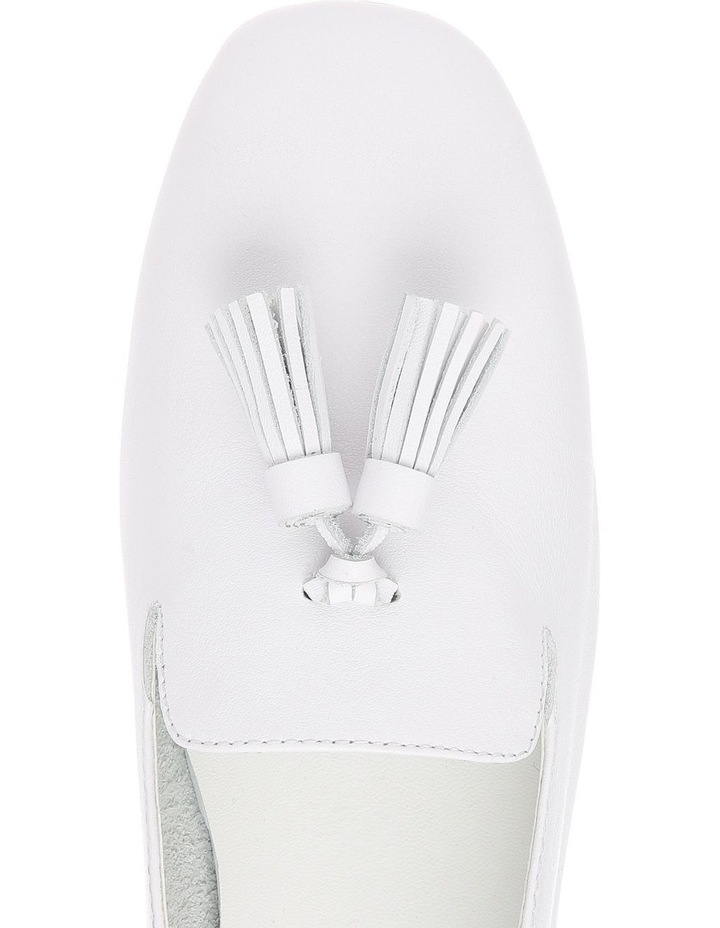 Jen White Leather Flat image 3