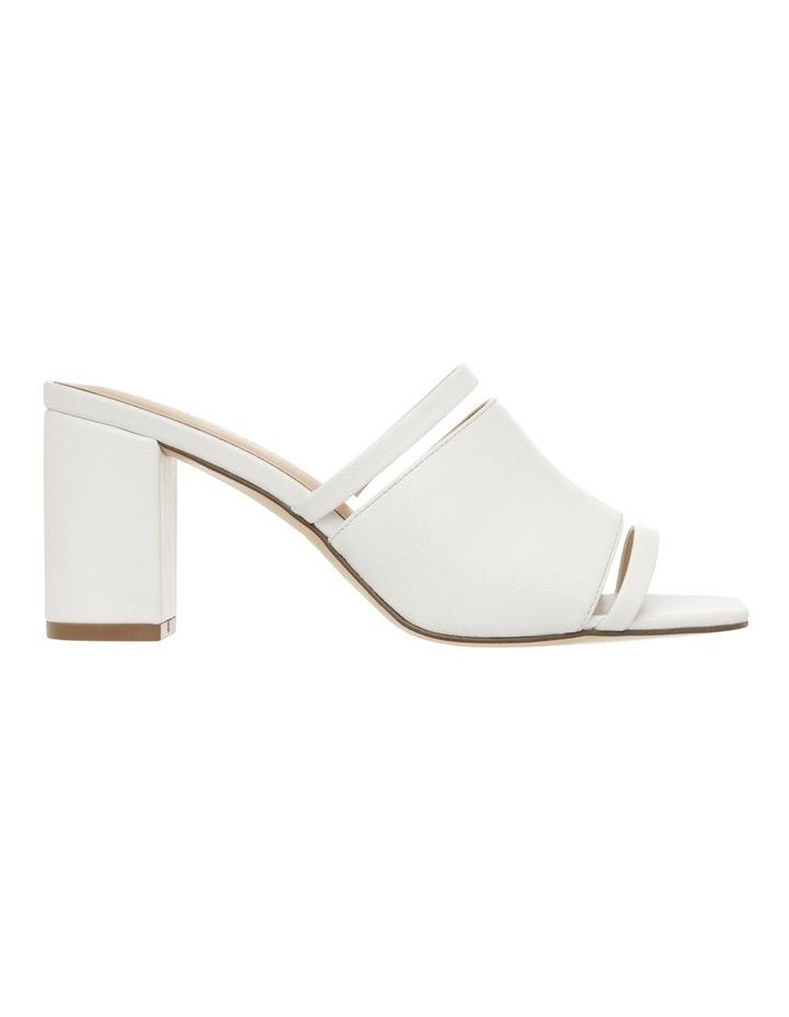 Zoya White Leather Block Heel Sandal image 1