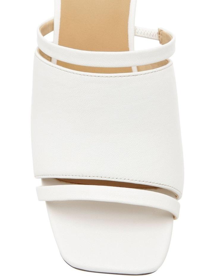 Zoya White Leather Block Heel Sandal image 2