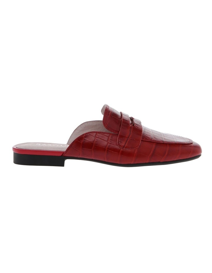 Heather Red Croc Print Leather Flat image 1